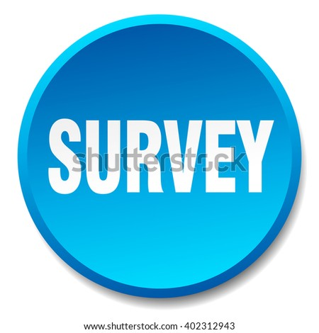 survey blue round flat isolated push button