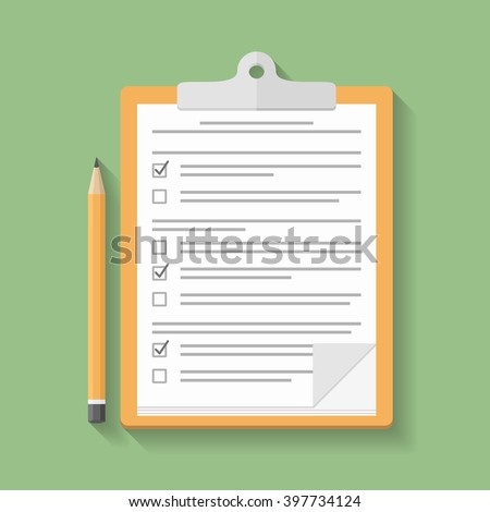Survey or test concept, clipboard with documents with check boxes and pencil, flat design, vector eps10 illustration - stock vector