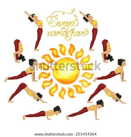 Surya Namaskar (Hatha Yoga) watercolor sun - stock vector