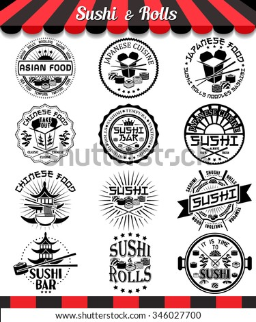 Sushi and rolls labels set. Japanese and chinese cuisine vector logos and badges . Asian food vector illustration - stock vector