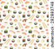 Sushi and rolls seamless pattern on white background - stock photo