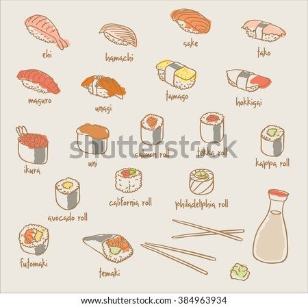 sushi and rolls set