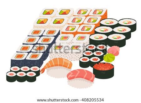 Sushi and sashimi set. Shrimp sushi, Sushi roll caviar. Japanese, asian restaurant food, cartoon style. Vector illustration isolated on white background, flat - stock vector