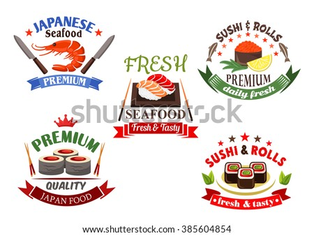 Sushi and seafood elements for japanese cuisine restaurant design with sushi rolls and nigiri, red caviar and salmon, tuna and shrimp, framed by chopsticks, knives, ribbon banners, stars and crowns - stock vector