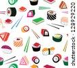 Sushi asian food seamless set. Details of japanese cuisine background - ingredient, fish. Vector illustration. - stock