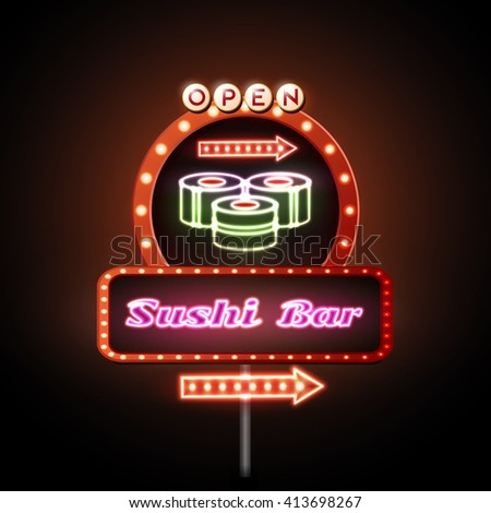 Sushi bar neon sign. Vector illustration
