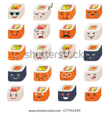 sushi emoji vector set emoji sushiのベクター画像素材 577741690