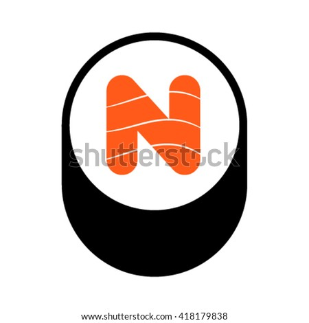 Sushi font, letter N, vector. - stock vector