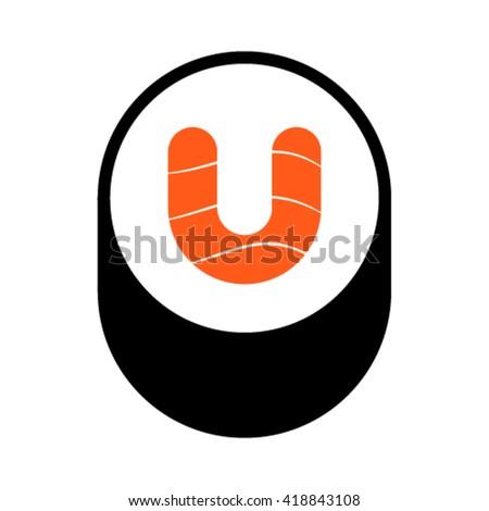 Sushi font, letter U, vector. - stock vector