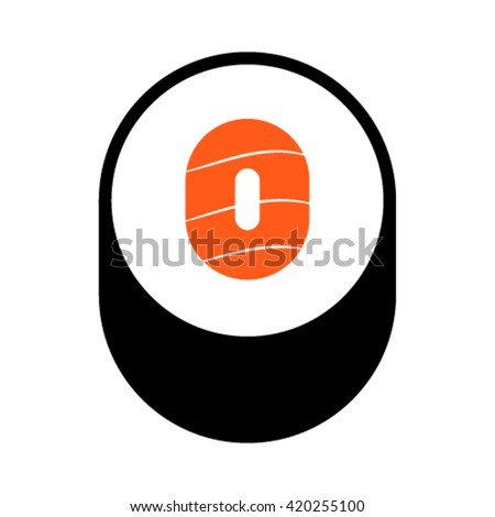 Sushi font, number 0, vector. - stock vector
