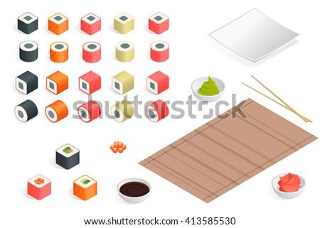Sushi Great set, Sushi isolated, Sushi on white background. Sushi rolls flat, Sushi food, Sushi japanese seafood, sushi rolls, Sushi Isometric, Sushi 3d, Sushi vector, Sushi illustration. - stock vector