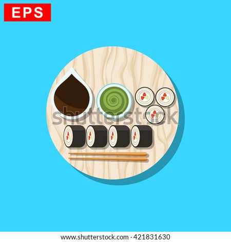 sushi icon, vector   sushi roll sign, isolated  japanese food symbol - stock vector