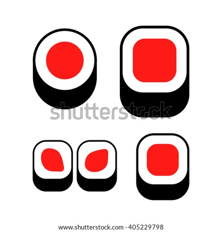 Sushi icons set. Sushi vector isolated logo. Roll logotype. Sushi  logo. Sushi icon. Sushi vector logo. Sushi vector icon. Sushi sign. Sushi symbol. Sushi label. Sushi stamp. Sushi abstract sign. - stock vector