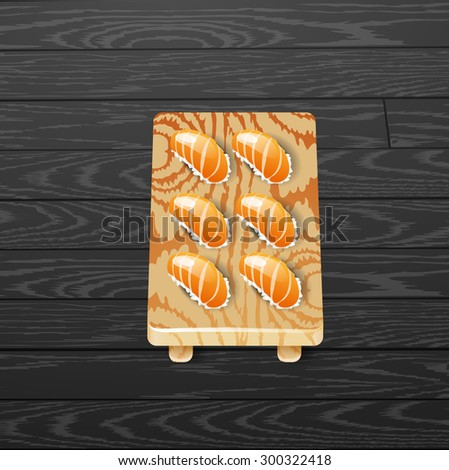 sushi  japanese food with fish vector illustration - stock vector