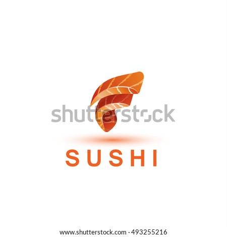 sushi logo template letter f looks เวกเตอร สต อก 493255216