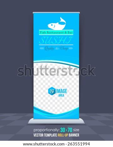 Sushi Restaurant Theme Roll-Up Banner Design, Advertising Vector Template  - stock vector