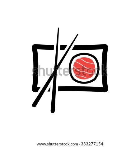 Sushi roll icon, sashimi maki and chopsticks - vector illustration - stock vector