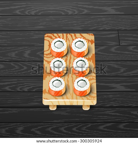 sushi roll japanese food with fish vector illustration - stock vector