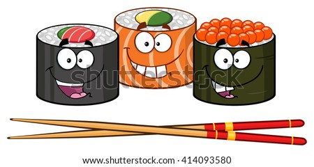 Sushi Roll Set Cartoon Characters With Chopsticks. Vector Illustration Isolated On White - stock vector