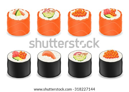 Japanese food design flat banner japanese sushi chinese food japan - Sushi Rolls In Red Fish Seaweed Nori Vector Illustration