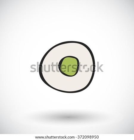 Sushi sketch. Hand-drawn cartoon Japanese food icon. Doodle drawing. Vector illustration.  - stock vector