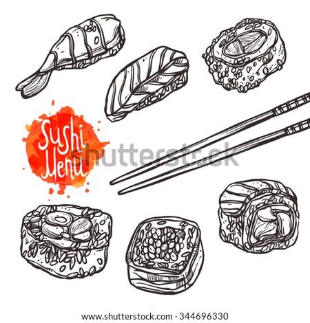 Sushi Sketch Set. Sushi Menu - stock vector