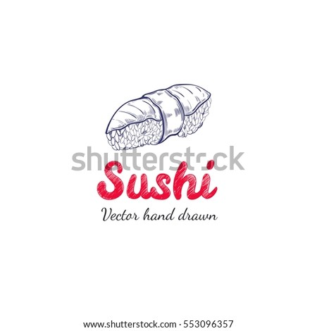 Sushi. Vector hand drawn label for asian food.Badge