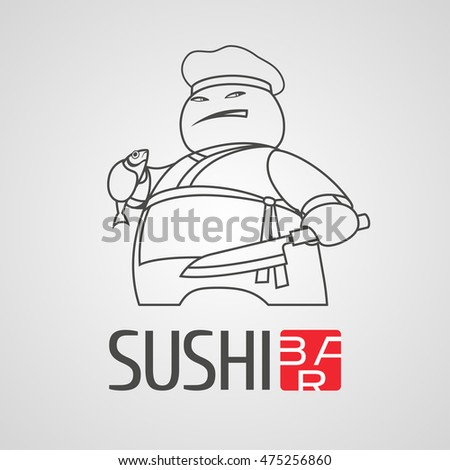 Sushi vector logo, icon, symbol, logotype. Graphic design element with thin line cooking chef for sushi bar, Japanese restaurant