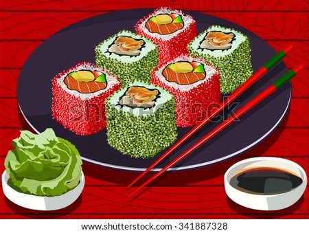 Sushi with caviar and salmon, on the plate, with soy sauce and wasabi, vector illustration. All items on separate layers