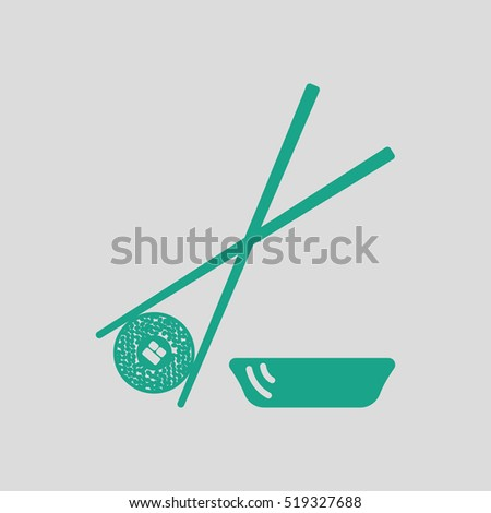 Sushi with sticks icon. Gray background with green. Vector illustration.