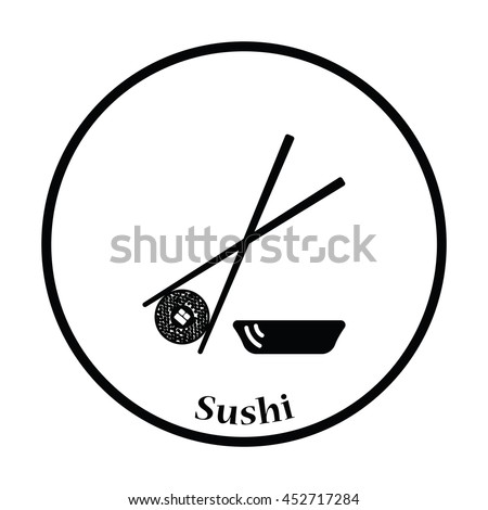 Sushi with sticks icon. Thin circle design. Vector illustration. - stock vector