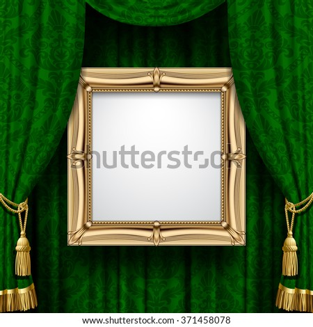 Suspended gold frame on the ornamental green curtain background. Square presentation artistic poster and placard. Vector illustration - stock vector