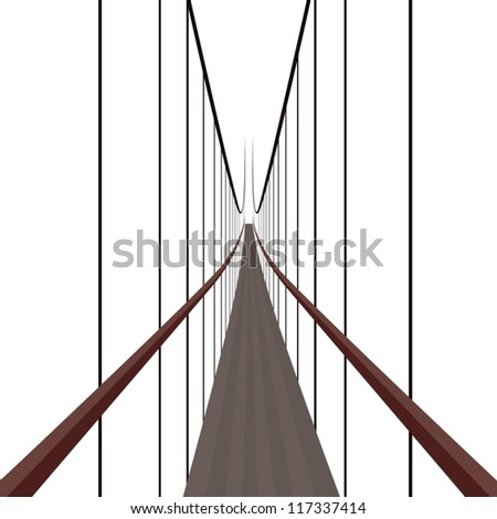 Suspension Bridge on the ropes. The illustration on a white background.