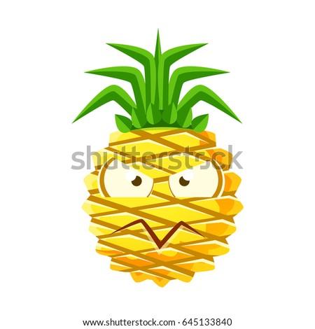 pineapple emoji png. suspicious pineapple face. cute cartoon emoji character vector illustration png