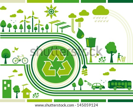 sustainability. Illustration containing several elements of sustainability for a living environmentally friendly and still the center of the symbol recycle. - stock vector