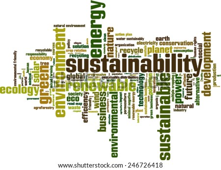 Sustainability word cloud concept. Vector illustration - stock vector