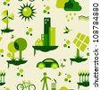 Sustainable city development with environmental icons conservation endlessly pattern  Vector file layered for easy manipulation and custom coloring - stock