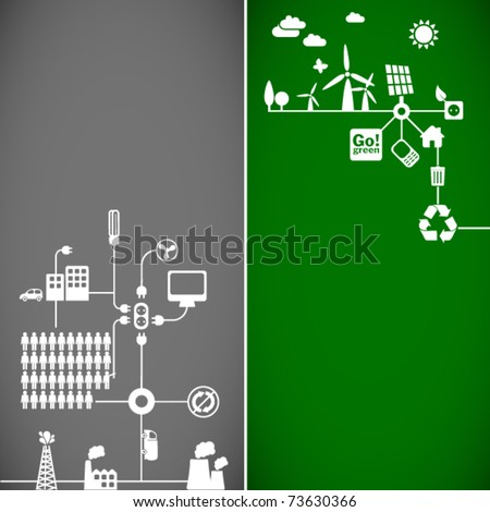 sustainable development concept - ecology banners // see also others from this series in my portfolio - stock vector
