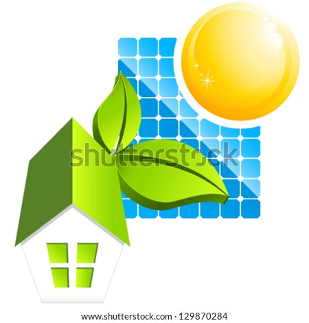 sustainable house - vector illustration - stock vector