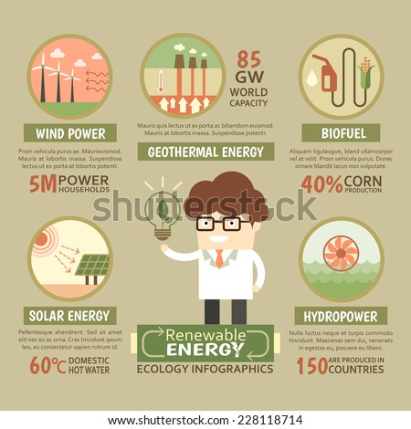 Sustainable Renewable energy ecology infographic elements and template - stock vector
