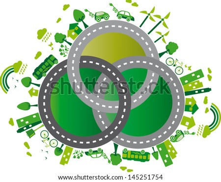 sustainable world. Illustration containing several elements of sustainability for a living environmentally friendly and still several roads
