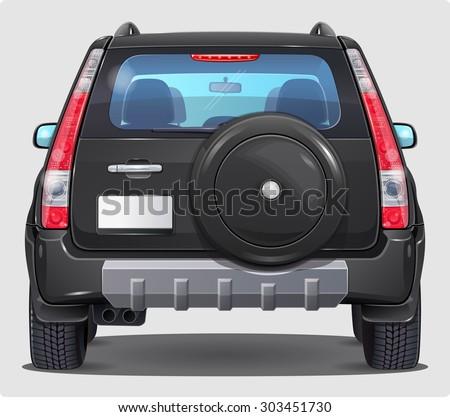 Suv Black Car - Rear view  - stock vector