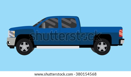 suv truck car pickup isolated blue big vector illustration - stock vector
