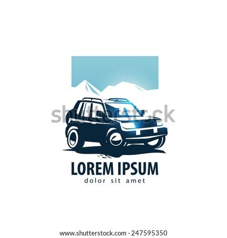 SUV vector logo design template. car or transport icon. - stock vector