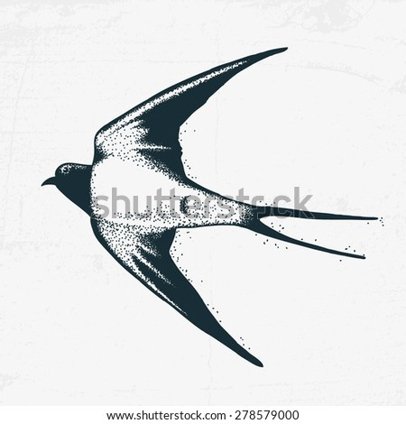 Swallow in tattoo style - stock vector