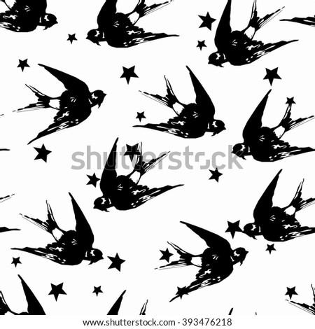 Swallow seamless vector, birds flying, animals, bird silhouette, bird vector. monochrome pattern. Black and white pattern - stock vector