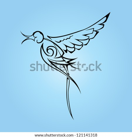 swallow tattoo vector - stock vector
