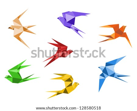 Swallows birds set in origami style isolated on white background. Jpeg version also available in gallery - stock vector