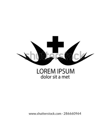 Swallows with a cross. Logo for medical centers and hospitals. Logo design for the company. - stock vector