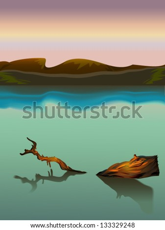Swamp landscape with mountains and tree in the sunset background. Vector - stock vector